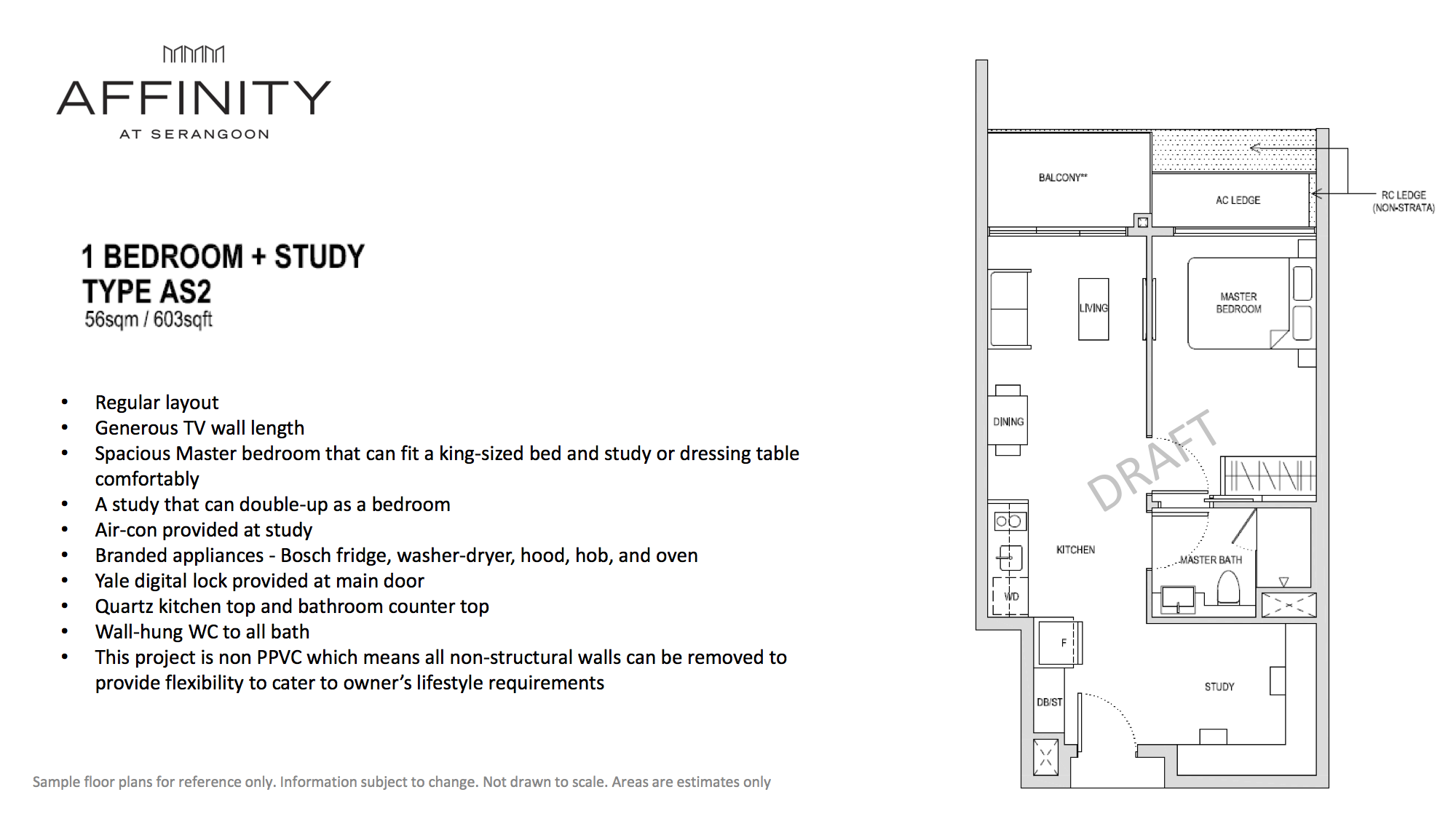 Affinity At Serangoon Floor Plan 1 Bedroom Study