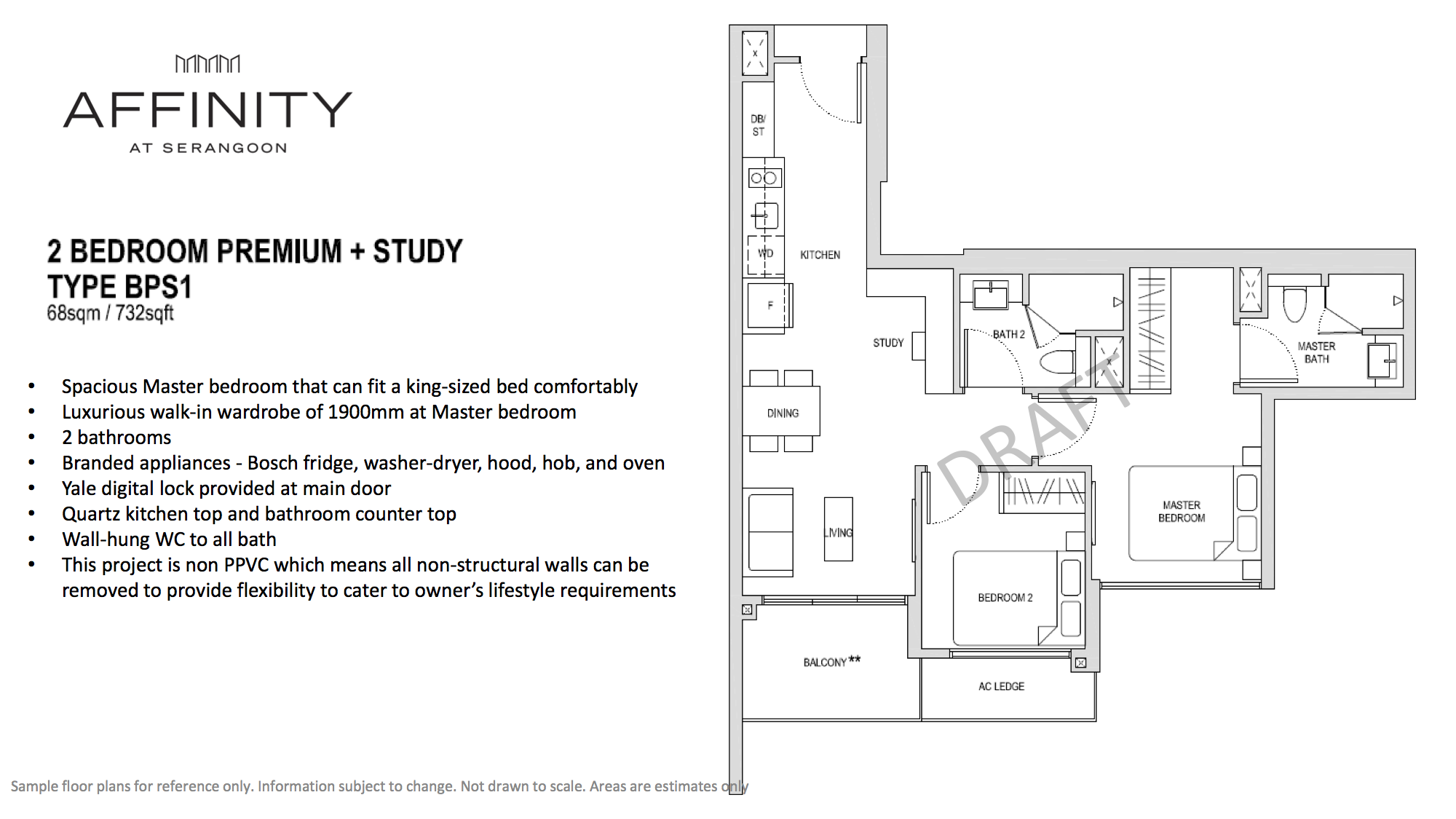 Affinity At Serangoon Floor Plan 2 Bedroom Premium Study