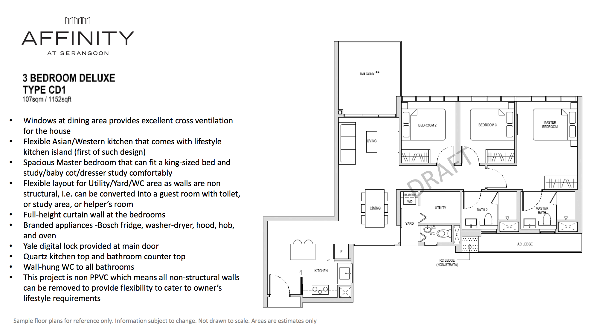 Affinity At Serangoon Floor Plan 3 Bedroom Deluxe