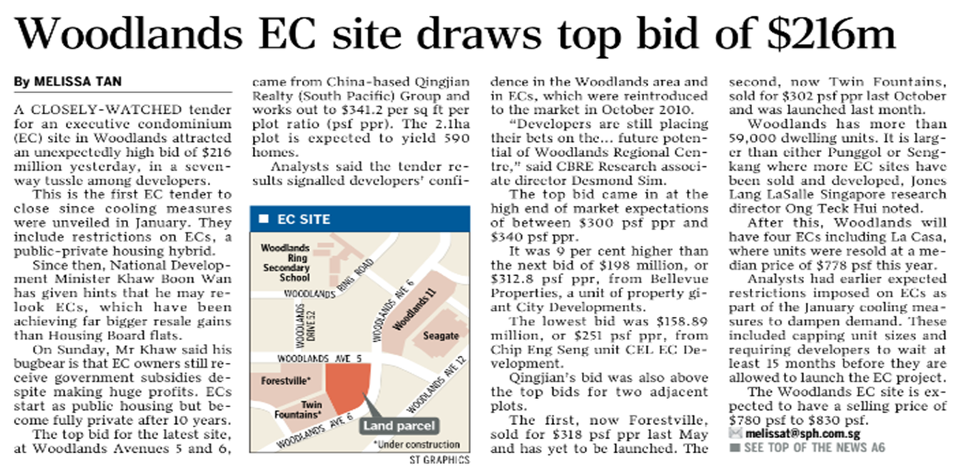 Woodlands EC site draws top bid of 216m