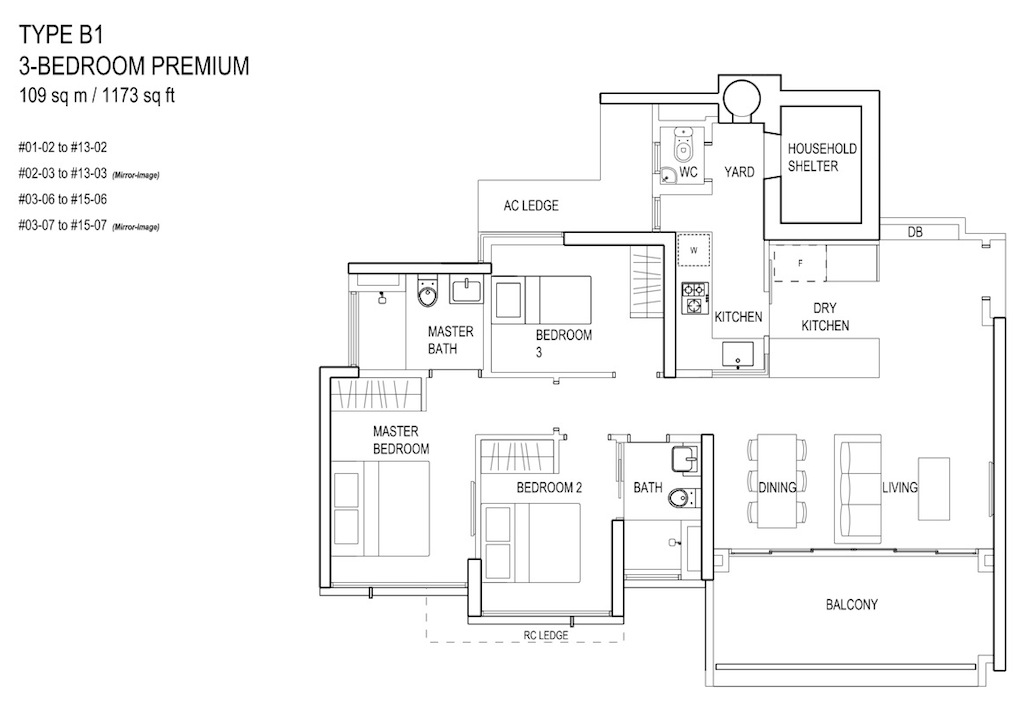Floor-Plan-3bedroom Prem TypeB1
