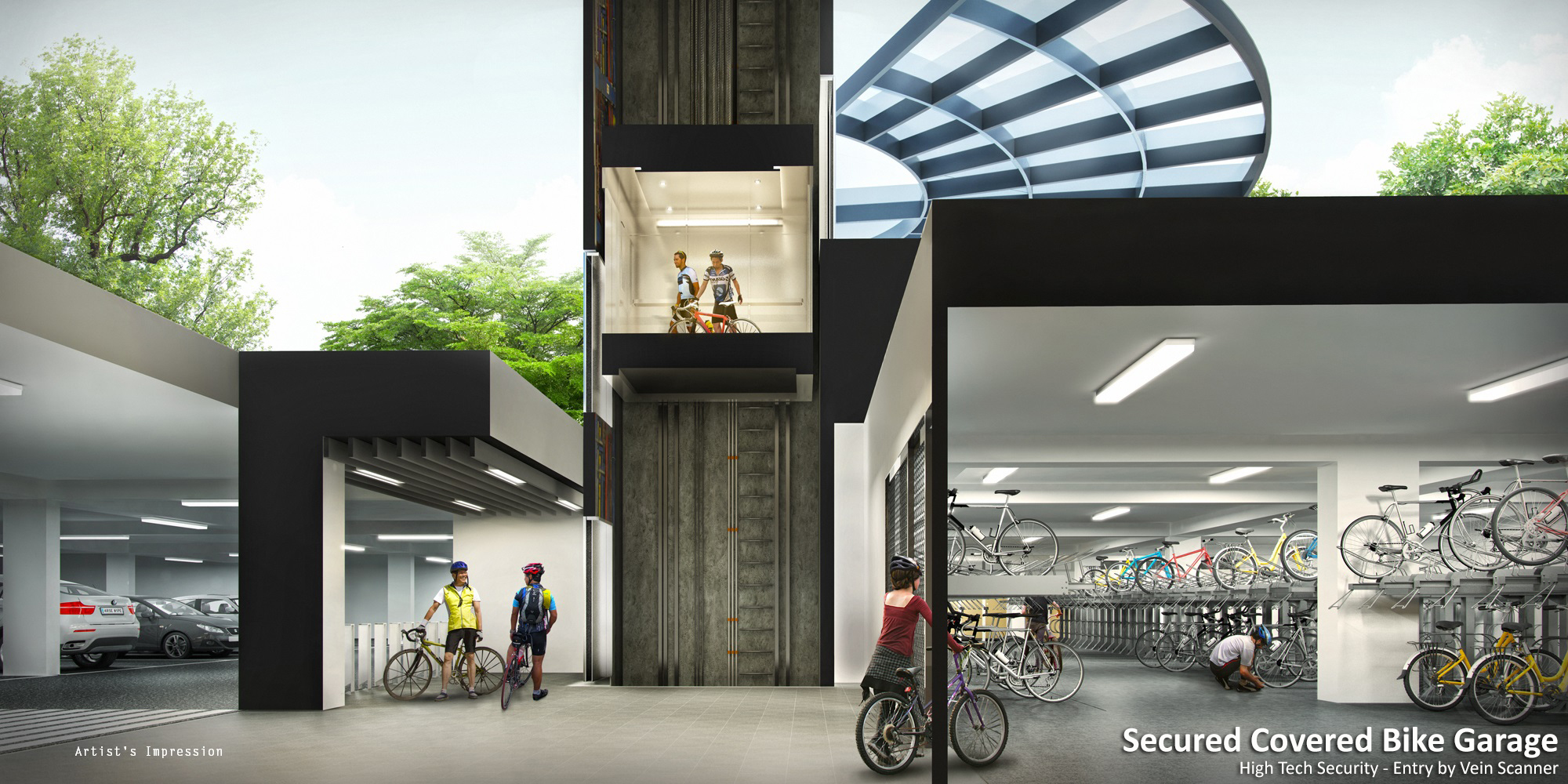 B6 Secured Covered Bike Garage Cross Section