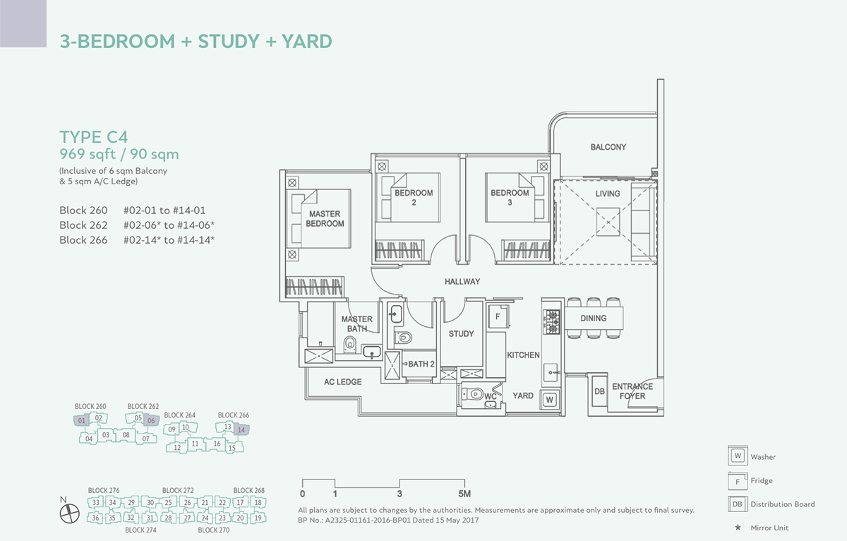 Hundred Palms Residences EC Floor Plan 3 Bedroom Study C4