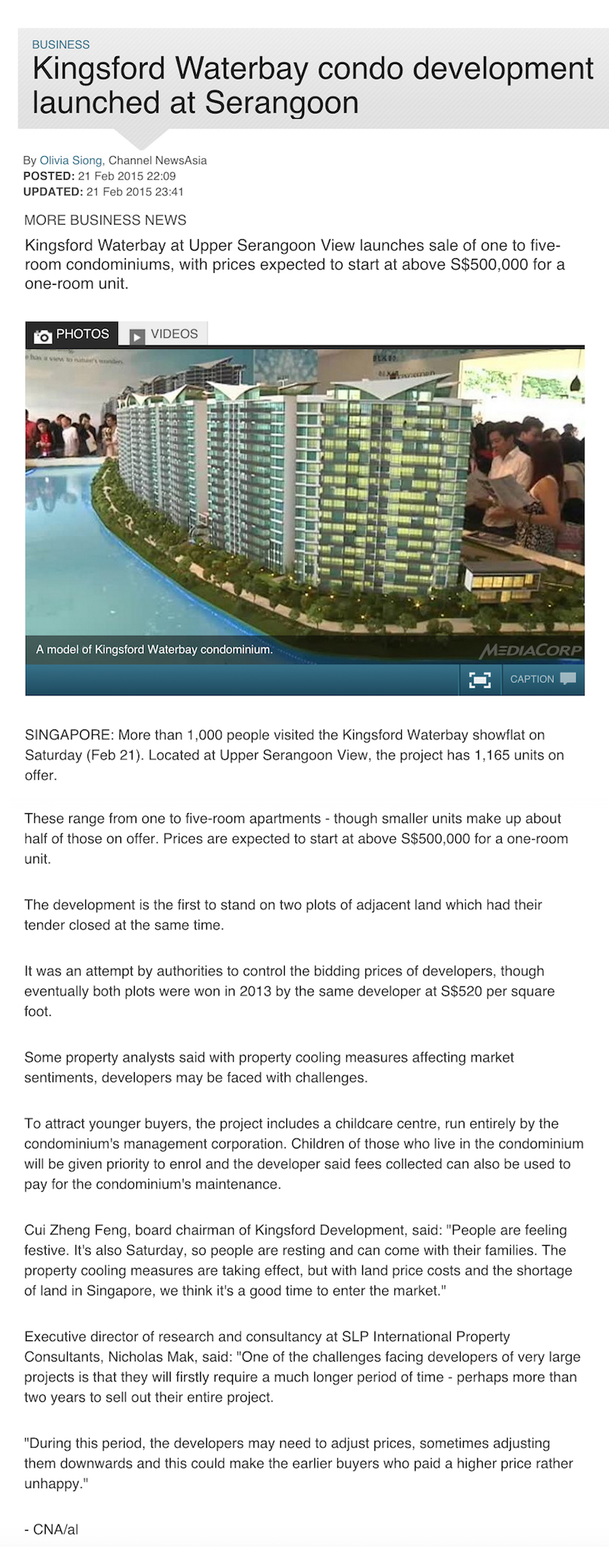 Article1 Kingsford Waterbay Condo Development At Serangoon
