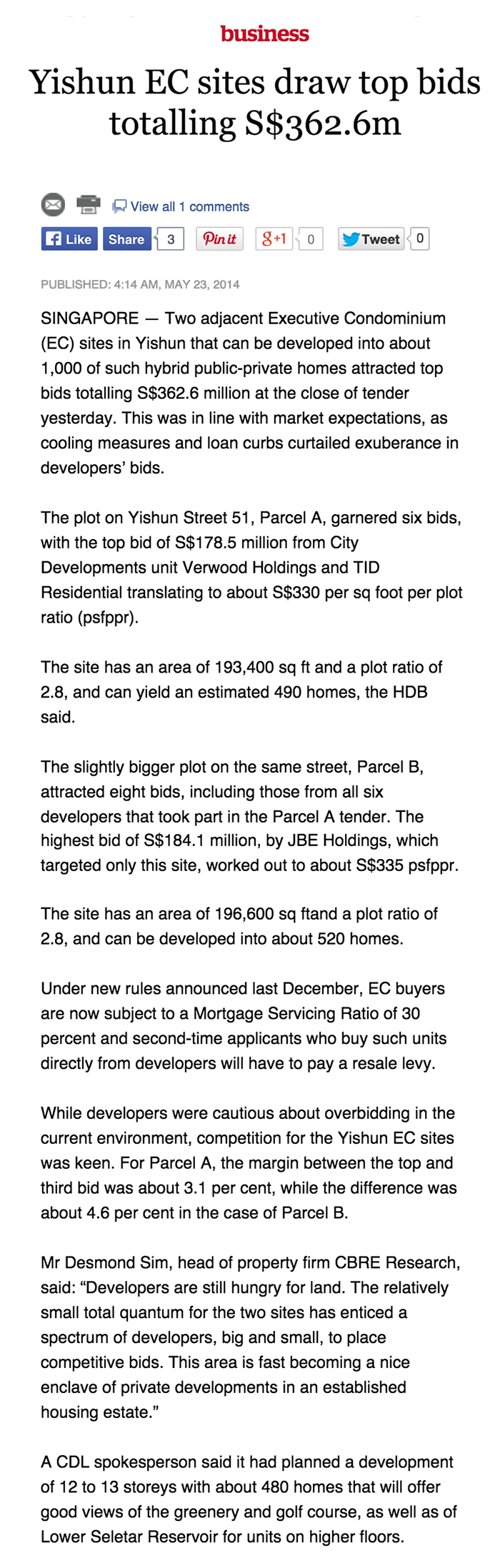 Article 1 Yishun EC sites draw top bids totalling S362.6m