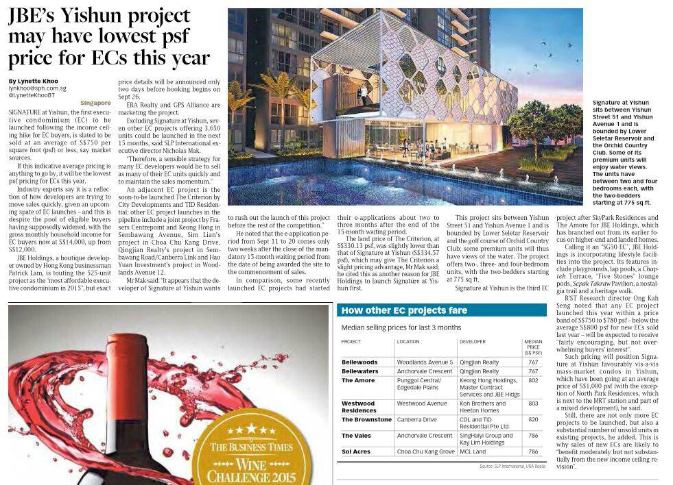 Article 2 JBE Yishun Project Lowest PSF Price For EC This Year