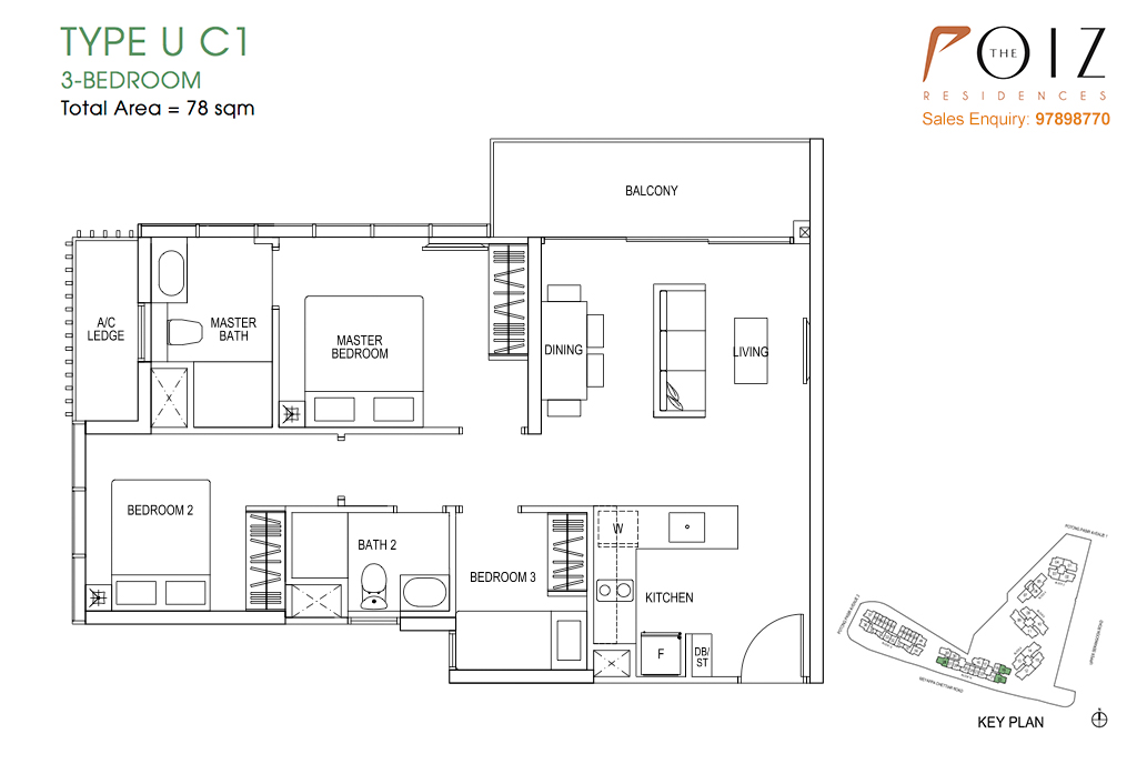 The Poiz Residences At Potong Pasir Floor Plan UC1