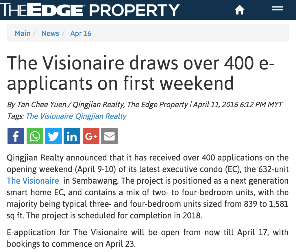 Article 1 The Visionaire Draws 400 Eapplicants Over First Weekend