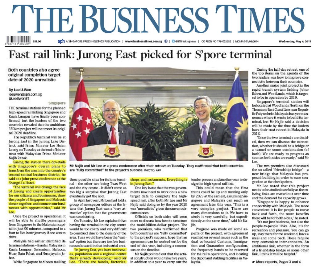 Article Fast rail link Jurong East picked for singapore terminal