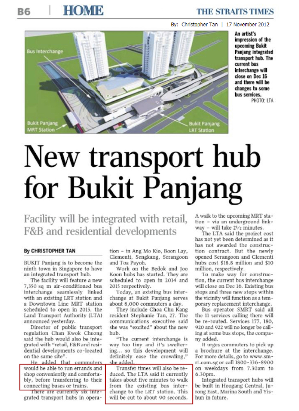 Article New Transport Hub for Bukit Panjang