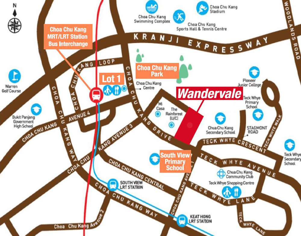 Wandervale EC Location Map Choa Chu Kang
